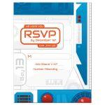 Blue, orange, red, grey high tech sci-fi space wars movie Bar Mitzvah invitation