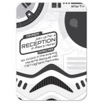 Grey and white high tech sci-fi space wars movie Bar Mitzvah invitation