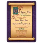 Unique illuminated text and medieval scroll fairytale once upon a time wedding invitation front