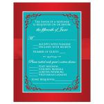 Red and aqua teal blue floral wedding response enclosure card inserts with red ribbon, bow, jeweled joined hearts, turquoise glitter and ornate scrolls and flourish.