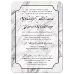 Trendy traditional calligraphy black and white marble wedding invitation front