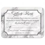Black and white marble traditional calligraphy wedding RSVP card front