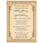Old world European calligraphy wedding invitation on simulated aged parchment front