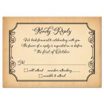 Old world European calligraphy wedding RSVP card on simulated aged parchment front