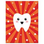 Kawaii tooth note card with personalized name