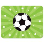 Soccer thank you note card with soccer ball and stars
