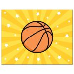 Basketball surrounded by white stars on a yellow sunburst background, personalised stationery for boys