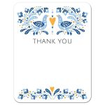 Modern folk art thank you card with blue and yellow birds, flowers, leaves and hearts