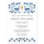 Modern folk are with bird couple bridal shower invitation