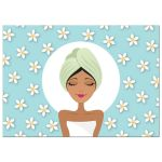 Spa bachelorette party invitation with african american or asian woman