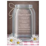Bat Mitzvah Invitations - Mason Jar Daisy Pink Gingham