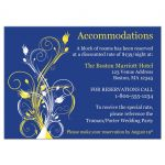 ​Best royal blue, yellow and white abstract floral wedding accommodations enclosure card insert.