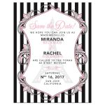 Chic Eiffel Tower Paris Fashion pink, black and white B'Not Mitzvah or Bat Mitzvah save the date card front