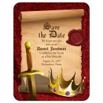 Medieval fantasy knight sword and king crown Bar Mitzvah save the date card front