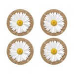 Elegant rustic burlap and lace white daisy wedding stickers or envelope seals