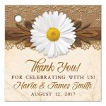 Rustic white daisy, lace, burlap and wood country wedding favor tags front