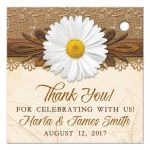 Rustic white daisy, lace, burlap and wood country wedding favor tags back