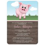 Baby Shower Invitations - Happy Pink Pig on the Farm - Barnyard