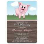 Birthday Party Invitations - Happy Pink Pig on the Farm - Barnyard