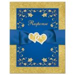Royal blue and gold foil and floral wedding response card insert with joined jewel hearts and ribbon.