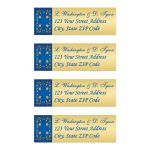 Personalized royal blue and gold floral return address mailing labels.