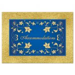 Royal blue and gold foil and floral wedding accommodations enclosure card insert.