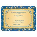 Royal blue and gold foil and floral wedding response reply RSVP enclosure card insert.