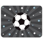 Soccer note card with personalized name, gray and blue