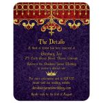 Red, purple, and gold royal crown medieval renaissance wedding details card front