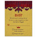Gold, purple, and red royal crown medieval renaissance wedding reply card front