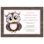 Birthday Party Invitations - Owl Pink with Brown Rustic Wood