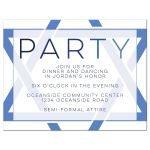 Modern blue and white simple Star of David Bar Mitzvah reception insert card front