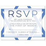Modern blue and white simple Star of David Bar Mitzvah RSVP card front