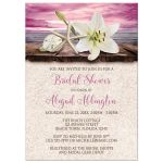Bridal Shower Invitations - Beach Lily Seashells and Sand Magenta