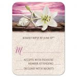 RSVP Reply Cards - Beach Lily Seashells and Sand Magenta