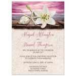 Reception Only Invitations - Beach Lily Seashells and Sand Magenta