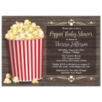 Baby Shower Invitations - Popcorn theme Rustic Wood