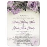 Vintage mauve purple grey ivory rose wedding invitation front