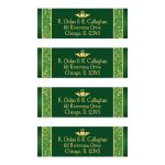 Green and gold Irish or Celtic wedding address mailing labels with floral border and gold Claddagh symbol.