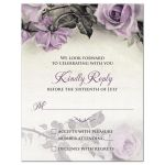 Vintage mauve purple grey ivory rose wedding reply card front