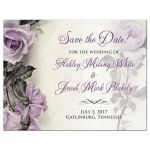 Vintage mauve purple grey ivory rose wedding save the date postcard front