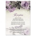 Vintage mauve purple grey ivory rose wedding reception card front