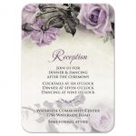 Vintage mauve purple grey ivory rose wedding reception card front
