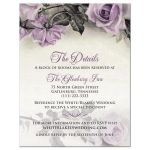 Vintage mauve purple grey ivory rose wedding details card front