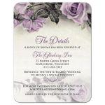 Vintage mauve purple grey ivory rose wedding details card front