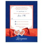 Royal blue, orange, and white floral pattern wedding response enclosure cards with ribbon, bow, glitter and a pair of jeweled double joined hearts buckle brooch on it.