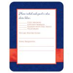 Royal blue, orange, and white floral pattern wedding RSVP enclosure card inserts with ribbon, bow, glitter and a pair of jeweled double joined hearts buckle brooch on it.