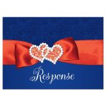 Royal blue, orange, and white floral pattern wedding response enclosure card inserts with ribbon, bow, glitter and a pair of jeweled double joined hearts buckle brooch on it.