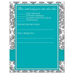 Aqua blue, grey and white damask pattern wedding response cards insert with turquoise or teal ribbon, glitter and a jeweled joined hearts buckle brooch.