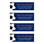 Navy blue and orange soccer bar mitzvah mailing/return address labels with black and white soccer ball.